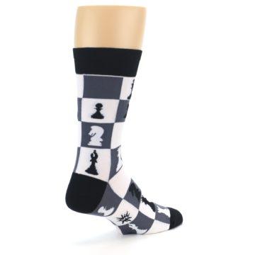 Image of Black White Chess Checkmate Men's Dress Socks (side-1-back-22)