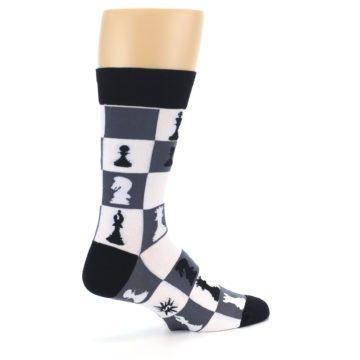 Image of Black White Chess Checkmate Men's Dress Socks (side-1-23)