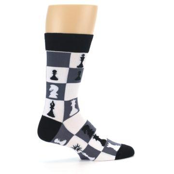 Image of Black White Chess Checkmate Men's Dress Socks (side-1-24)