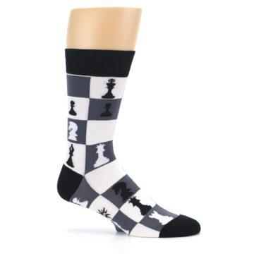Image of Black White Chess Checkmate Men's Dress Socks (side-1-25)