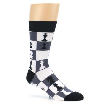 Image of Black White Chess Checkmate Men's Dress Socks (side-1-26)