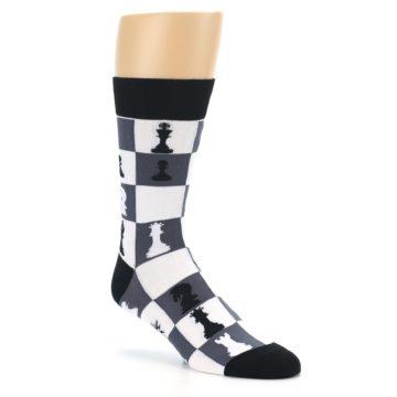 Image of Black White Chess Checkmate Men's Dress Socks (side-1-27)