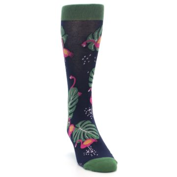 Image of Navy Green Flamingos Men's Dress Socks (side-1-front-03)