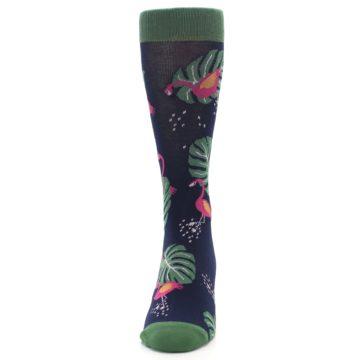 Image of Navy Green Flamingos Men's Dress Socks (front-05)