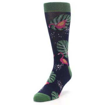 Image of Navy Green Flamingos Men's Dress Socks (side-2-front-07)