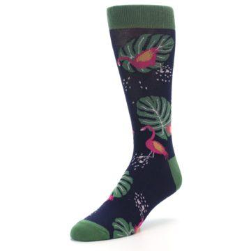 Image of Navy Green Flamingos Men's Dress Socks (side-2-front-08)