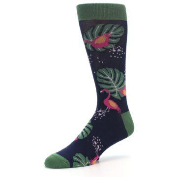 Image of Navy Green Flamingos Men's Dress Socks (side-2-09)