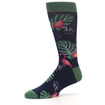 Image of Navy Green Flamingos Men's Dress Socks (side-2-10)