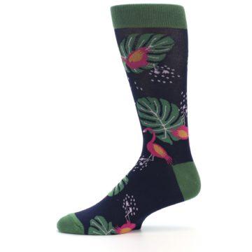 Image of Navy Green Flamingos Men's Dress Socks (side-2-11)