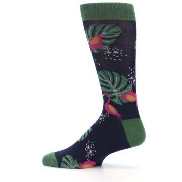 Image of Navy Green Flamingos Men's Dress Socks (side-2-12)