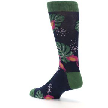 Image of Navy Green Flamingos Men's Dress Socks (side-2-back-14)