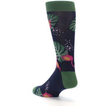 Image of Navy Green Flamingos Men's Dress Socks (side-2-back-15)