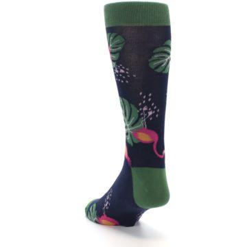 Image of Navy Green Flamingos Men's Dress Socks (side-2-back-16)