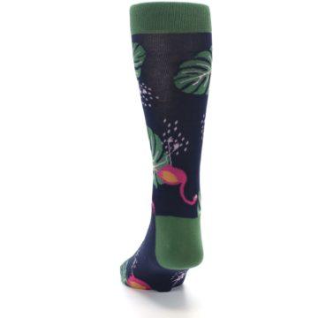 Image of Navy Green Flamingos Men's Dress Socks (back-17)