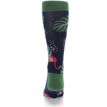Image of Navy Green Flamingos Men's Dress Socks (back-18)
