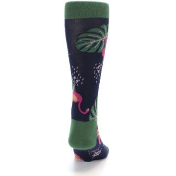 Image of Navy Green Flamingos Men's Dress Socks (back-19)