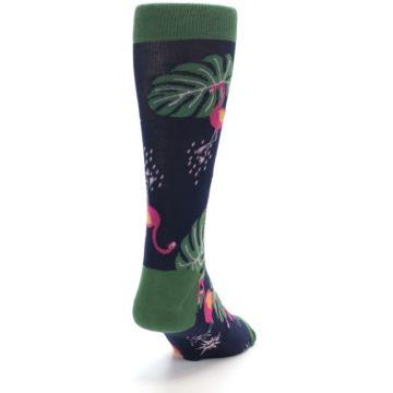 Image of Navy Green Flamingos Men's Dress Socks (side-1-back-20)