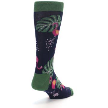 Image of Navy Green Flamingos Men's Dress Socks (side-1-back-21)