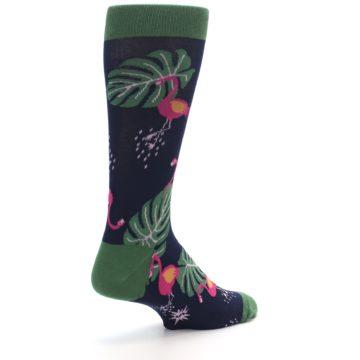 Image of Navy Green Flamingos Men's Dress Socks (side-1-back-22)