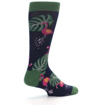 Image of Navy Green Flamingos Men's Dress Socks (side-1-23)