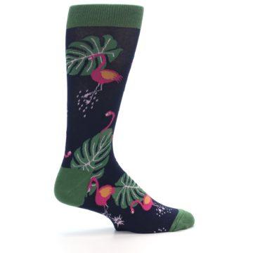 Image of Navy Green Flamingos Men's Dress Socks (side-1-24)