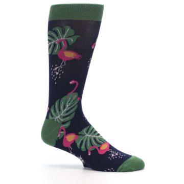 Image of Navy Green Flamingos Men's Dress Socks (side-1-25)