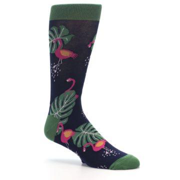 Image of Navy Green Flamingos Men's Dress Socks (side-1-26)