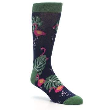 Image of Navy Green Flamingos Men's Dress Socks (side-1-27)