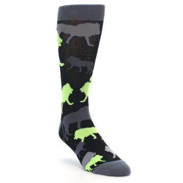 Image of Black Grey Neon Lions Men's Dress Socks (side-1-front-02)