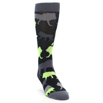 Image of Black Grey Neon Lions Men's Dress Socks (side-1-front-03)