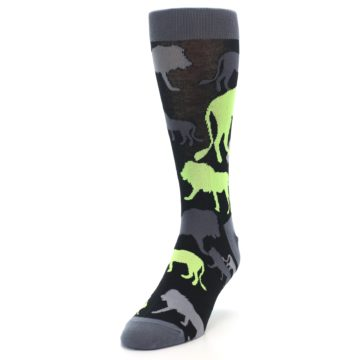 Image of Black Grey Neon Lions Men's Dress Socks (side-2-front-07)