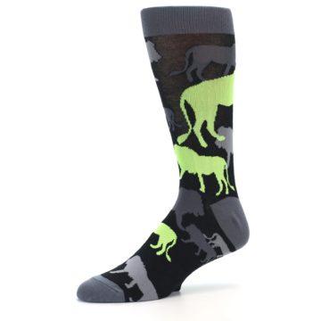 Image of Black Grey Neon Lions Men's Dress Socks (side-2-10)