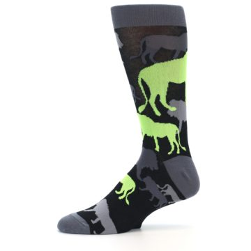 Image of Black Grey Neon Lions Men's Dress Socks (side-2-11)