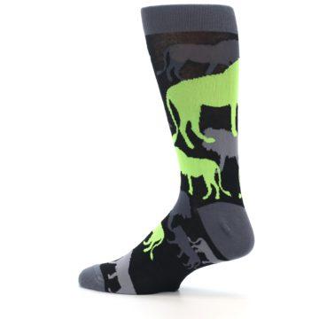 Image of Black Grey Neon Lions Men's Dress Socks (side-2-13)