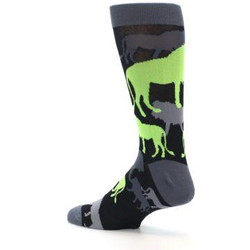 Image of Black Grey Neon Lions Men's Dress Socks (side-2-back-14)
