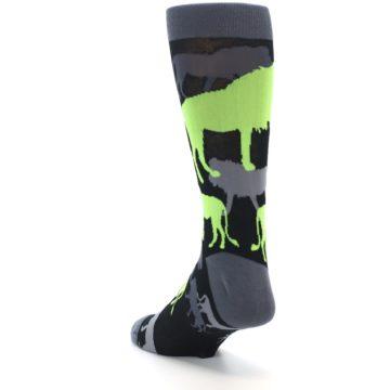 Image of Black Grey Neon Lions Men's Dress Socks (side-2-back-16)