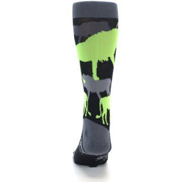 Image of Black Grey Neon Lions Men's Dress Socks (back-18)