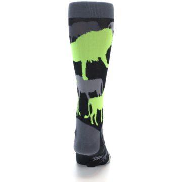 Image of Black Grey Neon Lions Men's Dress Socks (back-19)