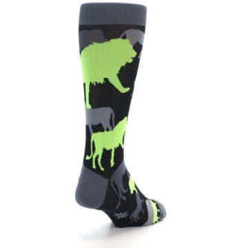 Image of Black Grey Neon Lions Men's Dress Socks (side-1-back-21)