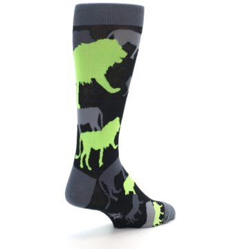 Image of Black Grey Neon Lions Men's Dress Socks (side-1-back-22)