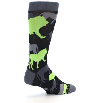 Image of Black Grey Neon Lions Men's Dress Socks (side-1-23)