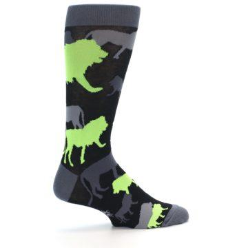 Image of Black Grey Neon Lions Men's Dress Socks (side-1-24)