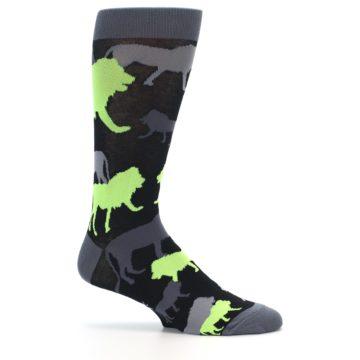 Image of Black Grey Neon Lions Men's Dress Socks (side-1-25)