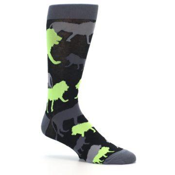 Image of Black Grey Neon Lions Men's Dress Socks (side-1-26)