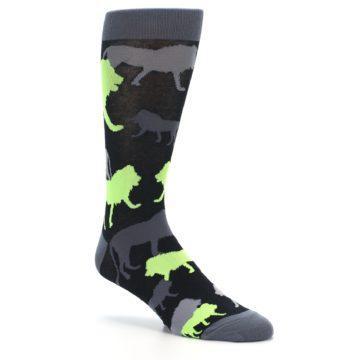 Image of Black Grey Neon Lions Men's Dress Socks (side-1-27)