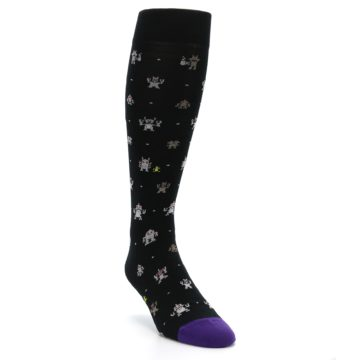 Image of Black Robots Men's Over-the-Calf Dress Socks (side-1-front-02)