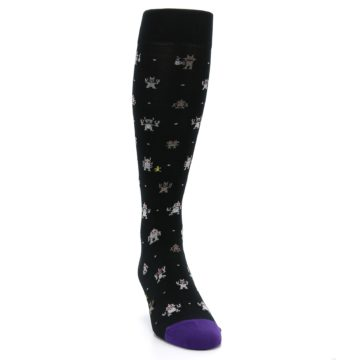 Image of Black Robots Men's Over-the-Calf Dress Socks (side-1-front-03)