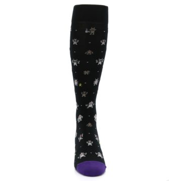 Image of Black Robots Men's Over-the-Calf Dress Socks (front-04)