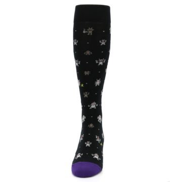 Image of Black Robots Men's Over-the-Calf Dress Socks (front-05)