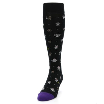 Image of Black Robots Men's Over-the-Calf Dress Socks (side-2-front-06)